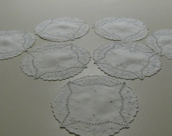 7 Vintage Embroidered White Coasters