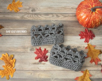 Crochet Boot Cuffs, grey boot cuffs, knit boot cuffs, gray boot cuffs