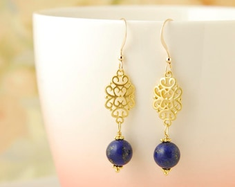 Lapis Lazuli Earrings Gold Filigree Earrings Blue Lapis Earrings Gemstone Dangle Earrings Lapis Lazuli Jewelry Gift For Her