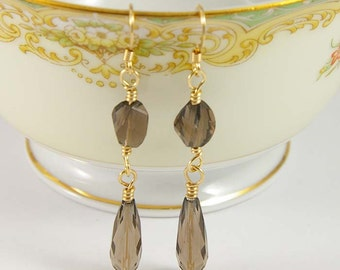 Smoky Quartz Earrings- 14 KT Gold Filled and Smoky Quartz Gemstone Earrings- Choose Post or Earwires