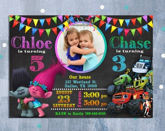 Custom invitations etsy sibling birthday invitation double birthday invitation dual combined twins birthday invitation custom invitation stopboris