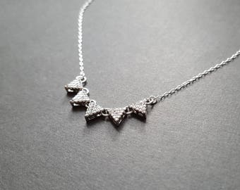 Silver CZ Triangle Pennant Necklace - micro pave cubic zirconia