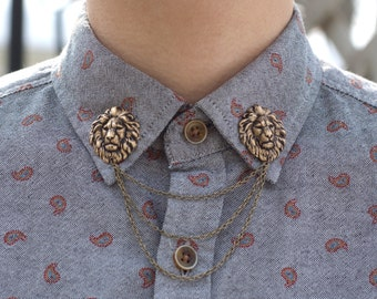Bronze Lion Head Collar/Cardigan Clip