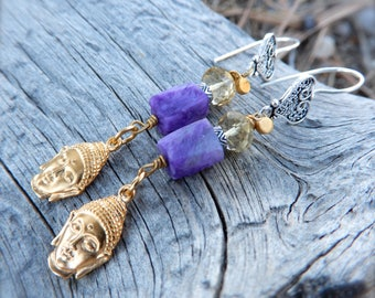 Buddha and Charoite Earrings Tassel Dangle French Ear Wires Mixed Metal