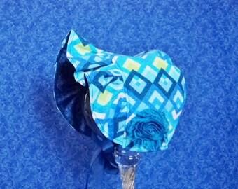 Baby Bonnet Royal Blue Geometric