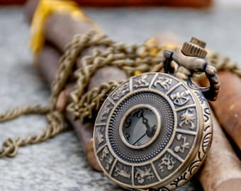 Steampunk Carved Hollow Small Constellation Bronze Pocket Watches Pendant,Women Sweater Necklace