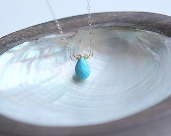 Small Turquoise Necklace, December Birthstone Necklace, Gold necklace, Turquoise jewelry, Turquoise Jewellery, Bridesmaid Gift, Mothersday