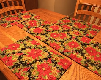 Reversible handmade table runner and four placemats set
