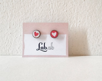 Pow! MINI - mismatch red&white hearts - Paper on Wood earrings - stud earrings - heart