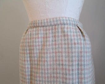 Pink and Gray 50s vintage wool Skirt Plaid wool Pencil Skirt Pink and Cream 50s vintage skirt S