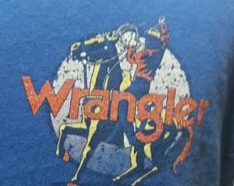 Vintage wrangler cowboy and his saddle levis 90s shirt