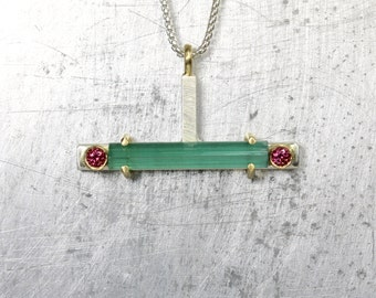 Modern Rough Blue-Green Tourmaline Rod Necklace Rhodolite Garnet Sterling Silver 18K Yellow Gold Luxurious Gift Idea For Her - Candy Bar