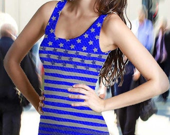 Women's Royal Blue Americana USA Flag Dress