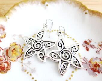 Starfish Flower Charm Earrings Tibetan Silver