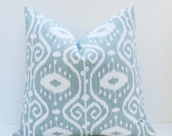 15% Off Sale Blue Green Pillow Decorative Gray Blue Pillow Decorative Throw Pillow Cover 18x18 Ikat  Printed fabric both sides