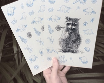 Racoon Greetingcard, Postcard A5, Recyclingpaper