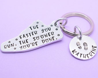 Running Gift, Personalised Marathon Keyring, Runners Gift, Running keyring, Personalised Running Gift, The Faster You Run Sooner You're Done