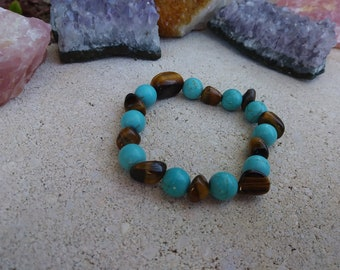 Tiger Eye & Magnesite Bracelet. Calming Bracelet.Protection. Luck .Power.Summer Bracelet.Blue Bracelet. 10mm Beaded Bracelet. Gift under 20.
