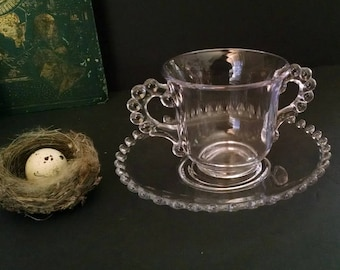 Vintage Clear Glass Sugar Bowl Dish Display Stand Candlewick Imperial