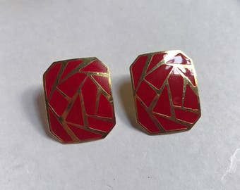 Geometric red and gold earrings - metal and enamel