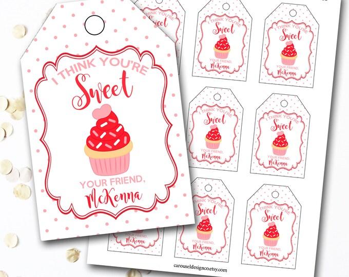 Cupcake Valentine's Day Tag, Cupcake Valentine's Tag, Sweet Valentine, Personalized Valentine's Tag, Party Favor Tags, DIY Printable