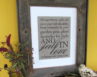 ALWAYS THROW spilt SALT - burlap art print