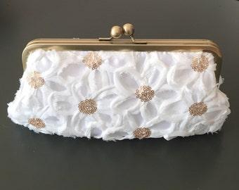 SALE - White Flower Sequin Clutch