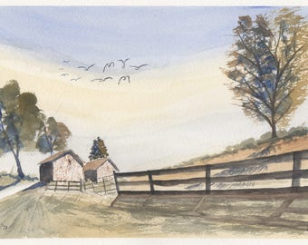 Original watercolor old farm