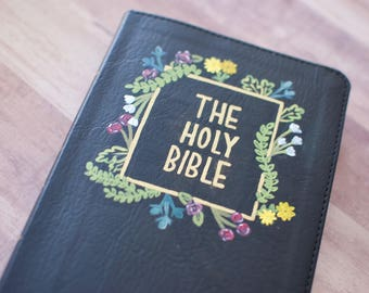 Hand Painted Bible - Floral Background