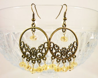 Gelben Kristall Ohrringe, gelbe Ohrringe, Creolen Bronze, gelbe Perlen Ohrringe, Boho Schmuck, Damen-Geschenkidee