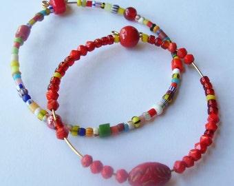 Colorful Vintage Beaded Bracelet Set Christmas Beaded Bangle Bracelet Set Red Yellow and Blue Bracelet Multi Beaded Bangle