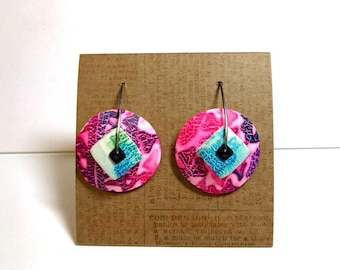 "1 ""Pretty in Pink"" new design disk earring made by Marie Segal 2017"
