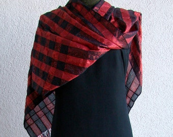 Red and Black Scarf - checkered hand woven shawl - sparkly festive wrap