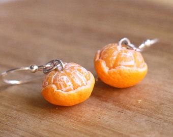 Peeled tangerine earrings - fruit jewelry, fruit earrings, food jewelry, miniature food