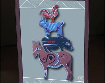 "Stacked Farm Animals #2 4.25"" x 6"" Blank Greeting Card"