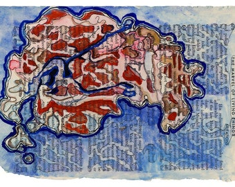 Red blue abstract watercolor print on book page, science art, Colonization: Mutation