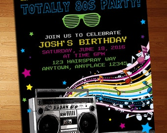 S Party Invitation Etsy - 80s party invitation template