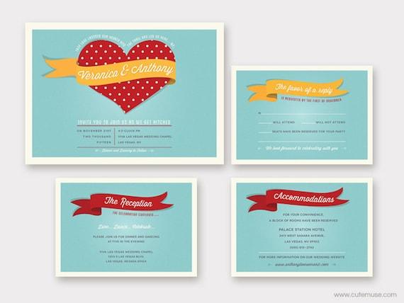 Pin up Wedding Invitation Printable Retro Wedding Vintage