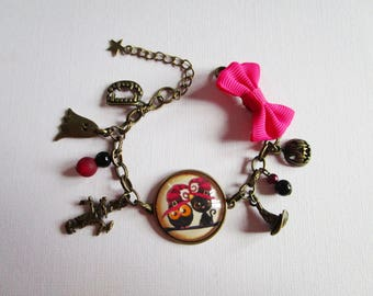 """Happy Halloween"", bronze cabochon, costume jewelry bracelet"