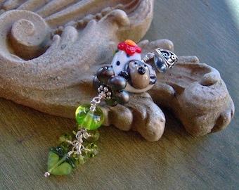Lampwork Beaded Pendant/Necklace - Artisan Lampwork Monkey Dots Pendant - Spring - Easter - SRAJD - Sterling Silver - Klassy Joolz