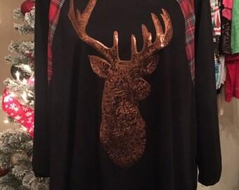 Sequin Deer Top