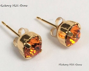 Halloween Earrings Orange Studs Tangerine 6mm Orange Crystal Stud Earrings Orange Studs Halloween Studs Thanksgiving Holiday Gift SWAROVSKI