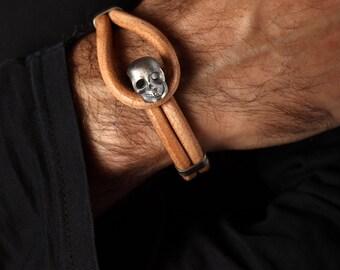 Skull Leather Bracelet, Brown Leather, Skull Bracelet Men with Genuine Leather Cord
