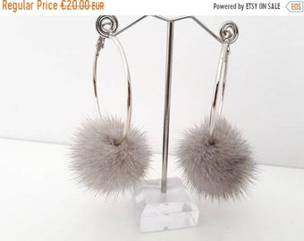 Rapid sale Hoop Earrings with fur pompom. Stainless steel earring with  grey  mink pompom.