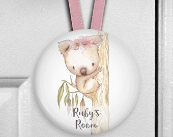 Koala bear nursery decor - girls bedroom decor - personalized door hangers - personalized baby shower gifts - HAN-PERS-30F