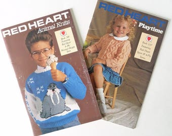 Children's Animal Sweater Knitting Patterns - Set of 2 Books - Red Heart Animal Knits - Red Heart Playtime - Dragon Sweater Pattern - 1980s