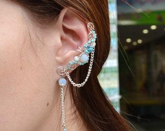 Fake Piercing Moonstone Earrings Ear Cuff No Piercing Oreille Cartilage Earring Cuff Cartilage Chain Earrings Manchette d'oreille Ear Cuffs