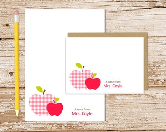 personalized APPLE stationery set . teacher notepad + note card set notecards note pad stationary set . gingham apple . teachers gift set