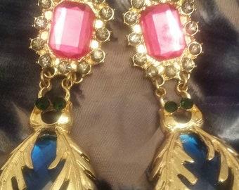 Multi colored faux gemstone chandelier earrings