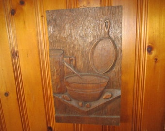 Antique Large Culinary Wood Carving Wall Hanging Panel Signed and Dated 1913